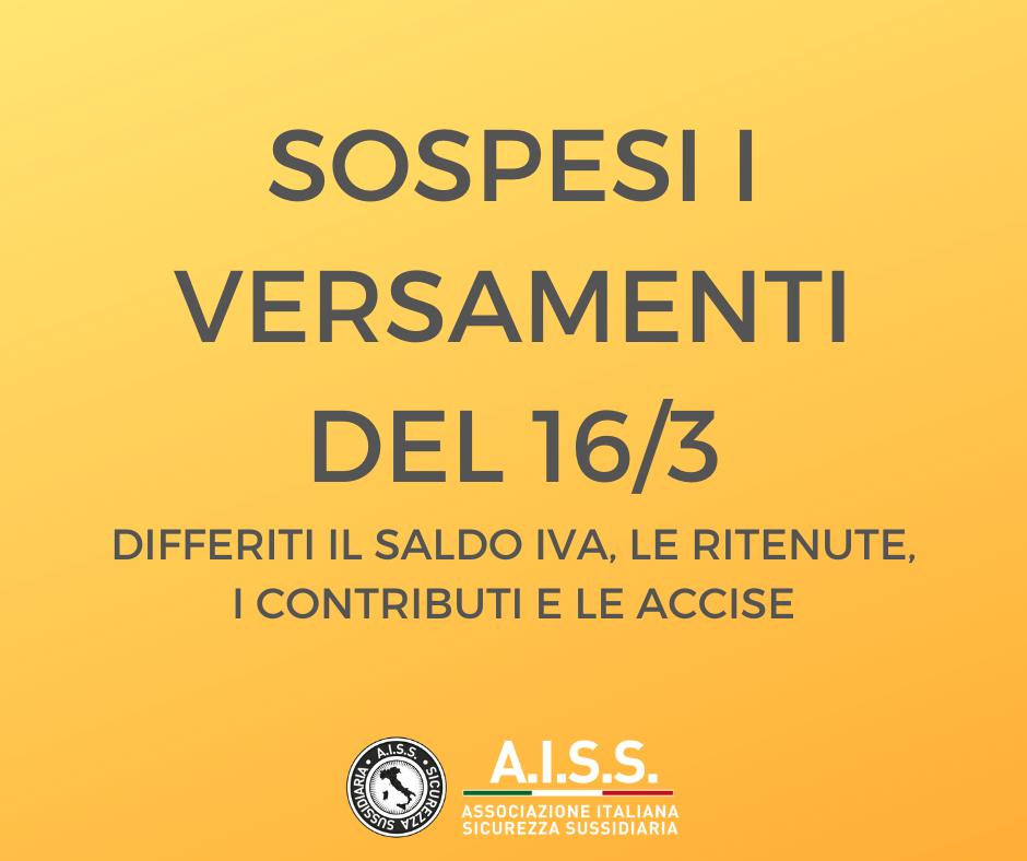 Sospesi i versamenti del 16/3 Differiti il saldo Iva, le ritenute, i contributi e le accise