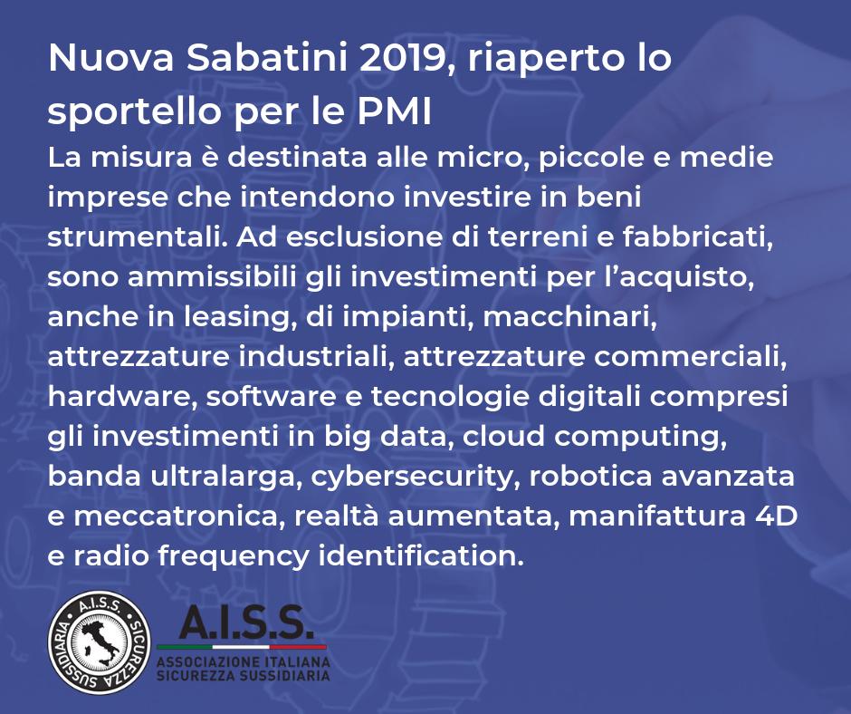 Nuova Sabatini 2019, riaperto lo sportello per le PMI, per le agenzie di Sicurezza è il momento di investire.