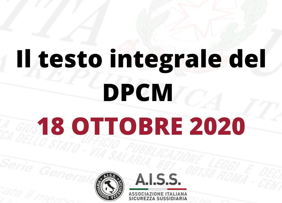 Il testo integrale del DPCM 18 Ottobre 2020 con breve guida di sintesi