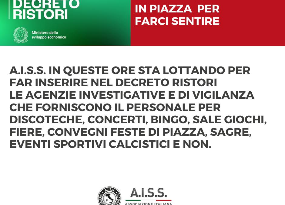 DL RISTORI: CECCONI (AISS), 'GOVERNO INSERISCA AGENZIE PERSONALE SICUREZZA PRIVATA