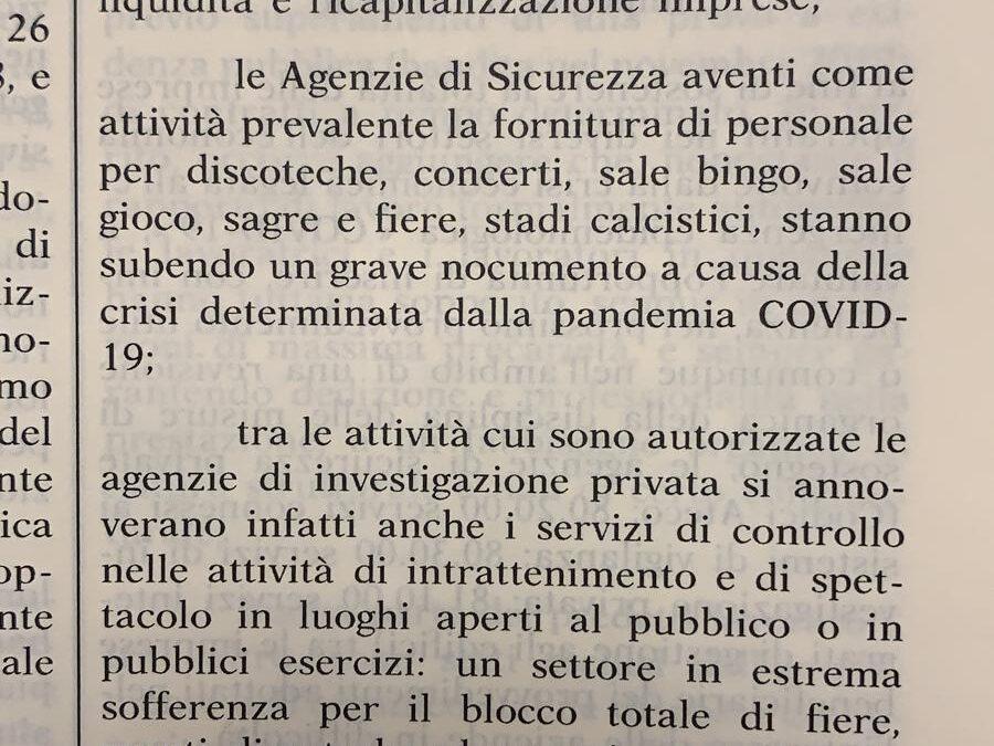 AISS CHIEDE AL GOVERNO RISTORI PER LA SICUREZZA PRIVATA