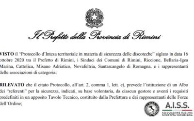 Rimini Protocollo di intesa territoriale in materia di sicurezza delle discoteche